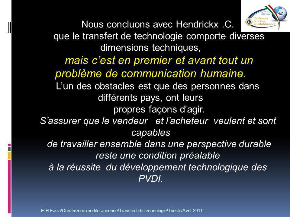 Nous concluons avec Hendrickx .C.