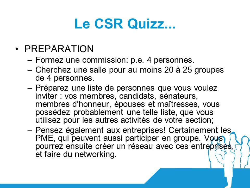 Le CSR Quizz... PREPARATION Formez une commission: p.e. 4 personnes.