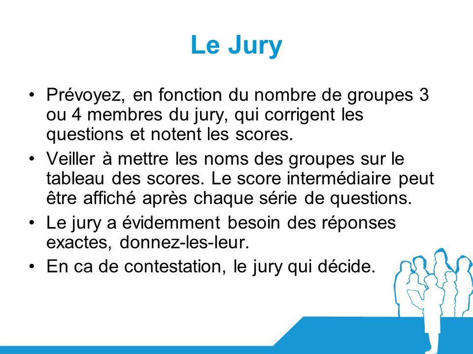 Le Jury Prévoyez, en fonction du nombre de groupes 3 ou 4 membres du jury, qui corrigent les questions et notent les scores.