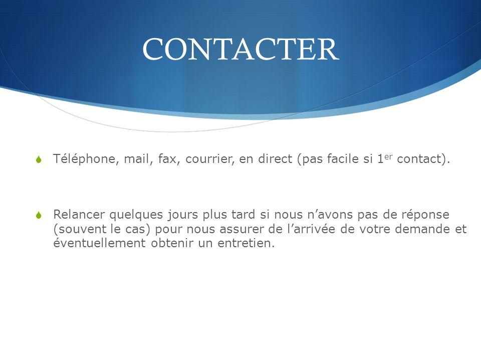 CONTACTER Téléphone, mail, fax, courrier, en direct (pas facile si 1er contact).
