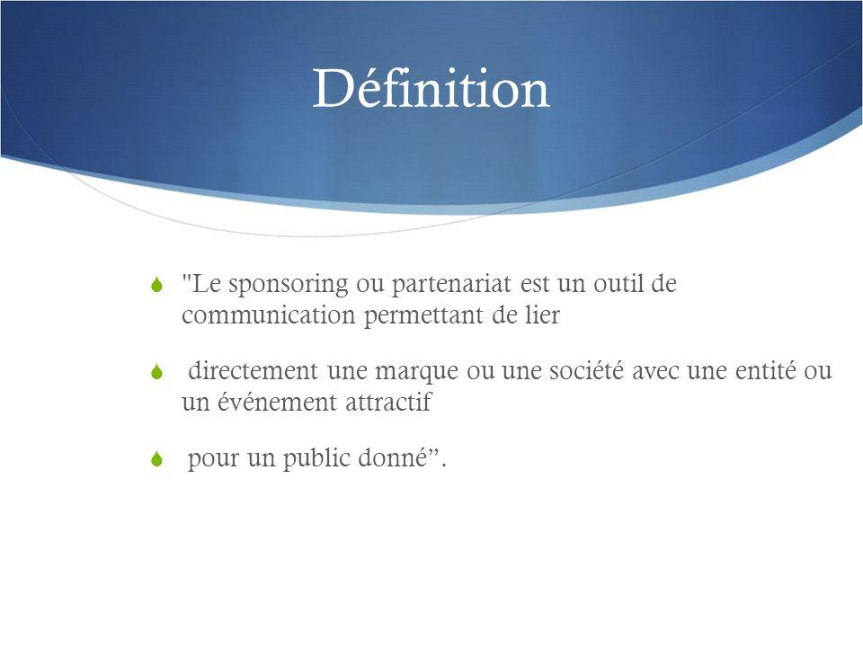 Définition Le sponsoring ou partenariat est un outil de communication permettant de lier.