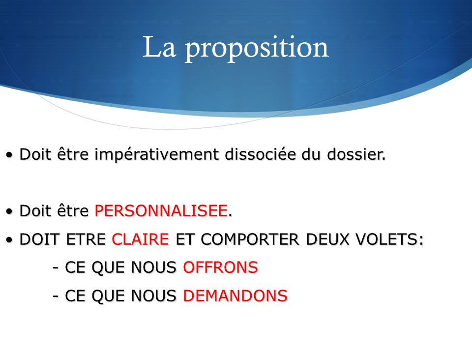 La proposition Doit être impérativement dissociée du dossier.