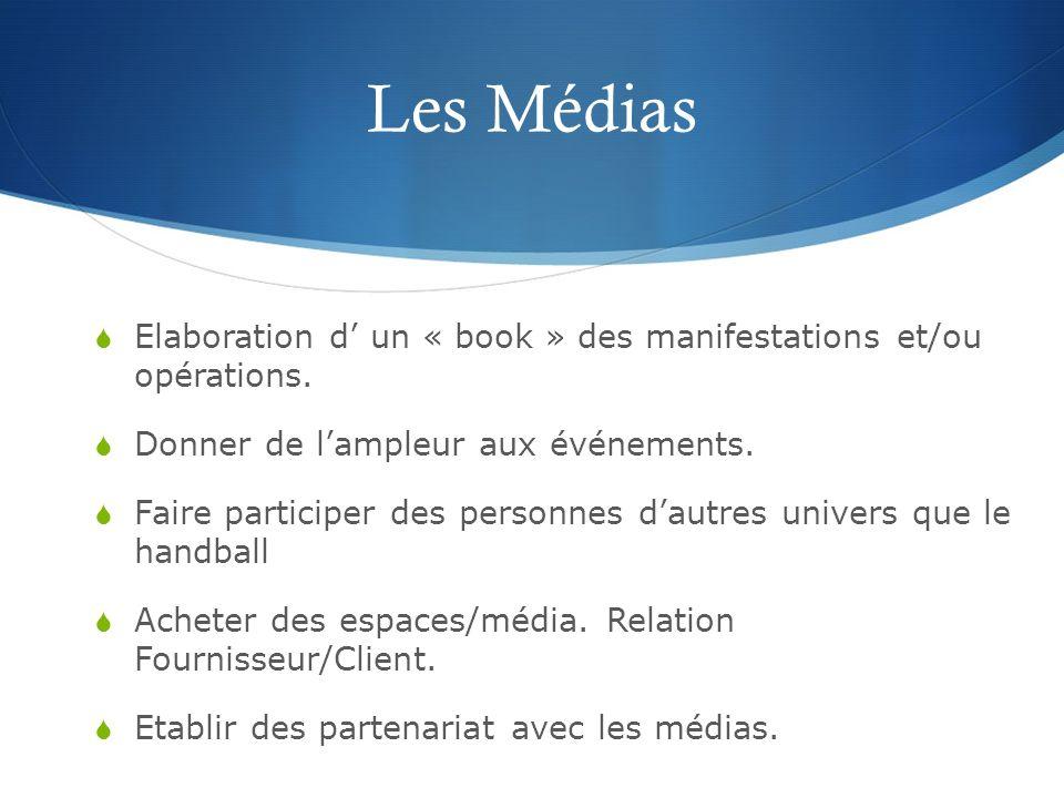 Les Médias Elaboration d' un « book » des manifestations et/ou opérations. Donner de l'ampleur aux événements.