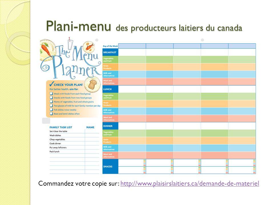 Plani-menu des producteurs laitiers du canada