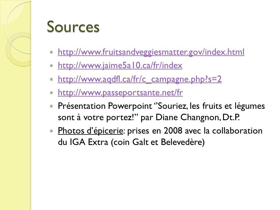 Sources http://www.fruitsandveggiesmatter.gov/index.html
