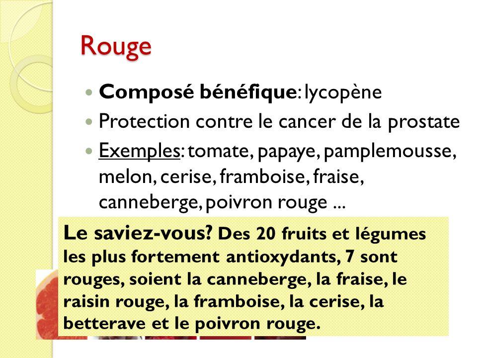 Rouge Composé bénéfique: lycopène