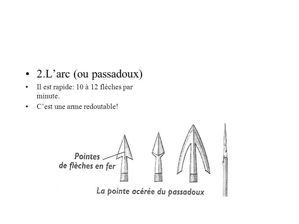 2.L'arc (ou passadoux) Il est rapide: 10 à 12 flèches par minute.