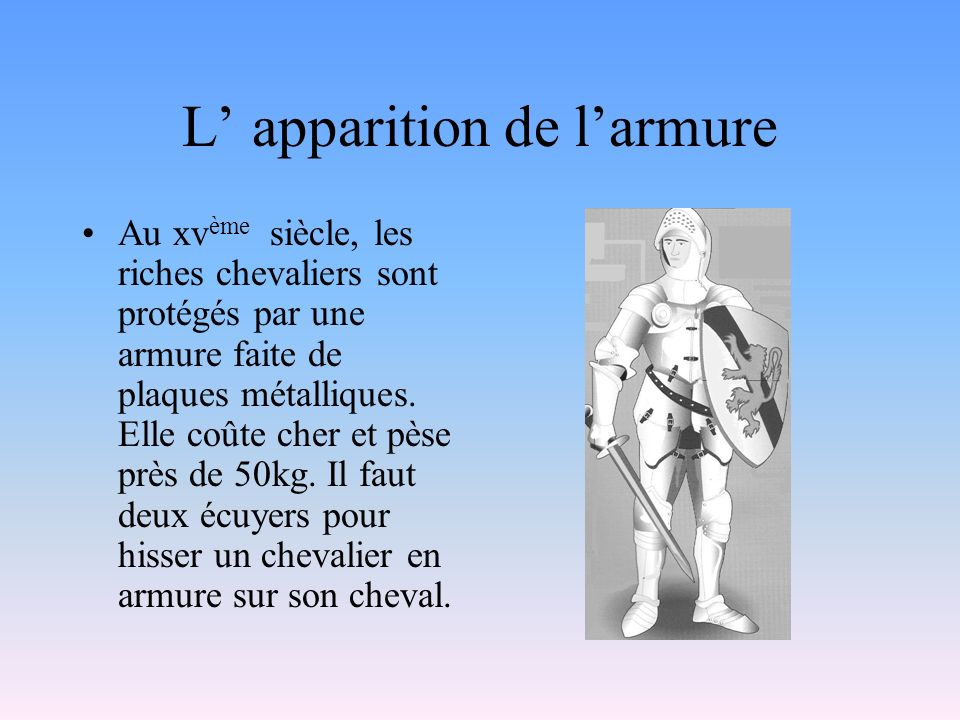 L' apparition de l'armure