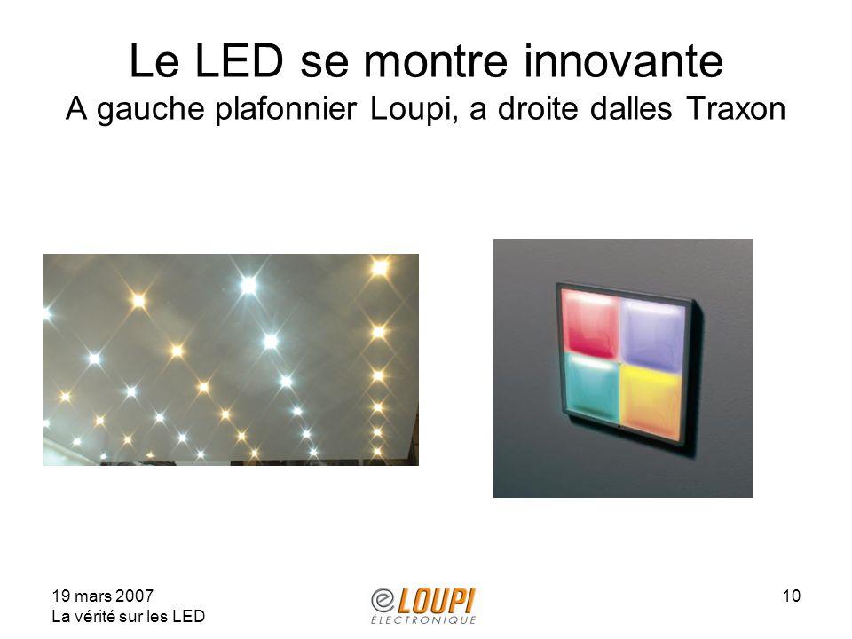 Le LED se montre innovante A gauche plafonnier Loupi, a droite dalles Traxon