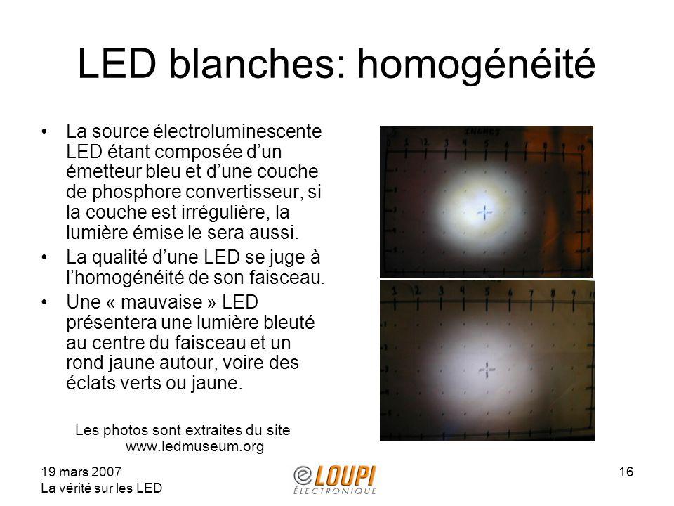 LED blanches: homogénéité