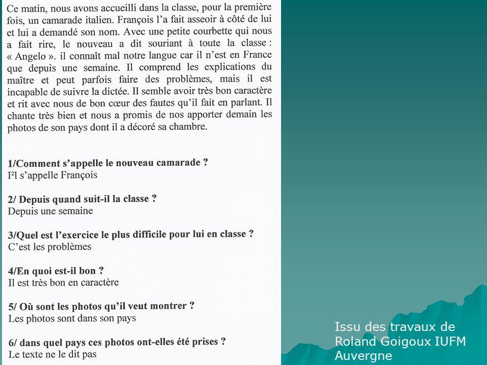 Issu des travaux de Roland Goigoux IUFM Auvergne