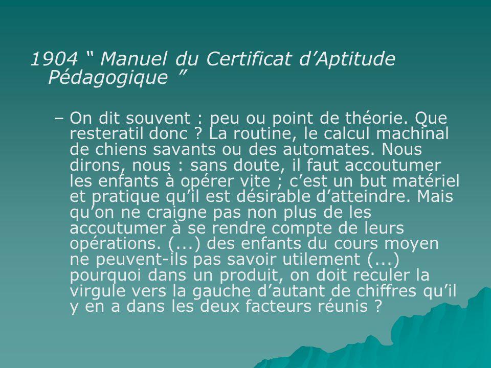 1904 Manuel du Certificat d'Aptitude Pédagogique
