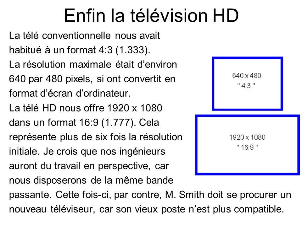 Enfin la télévision HD La télé conventionnelle nous avait