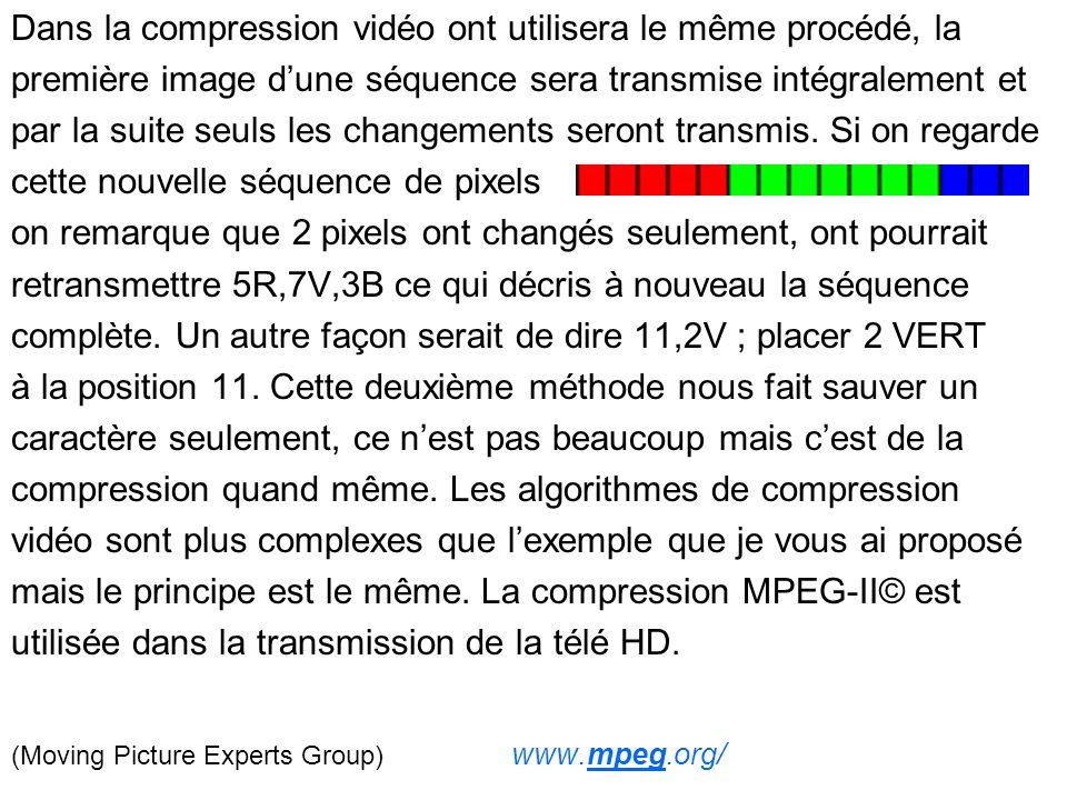 Dans la compression vidéo ont utilisera le même procédé, la