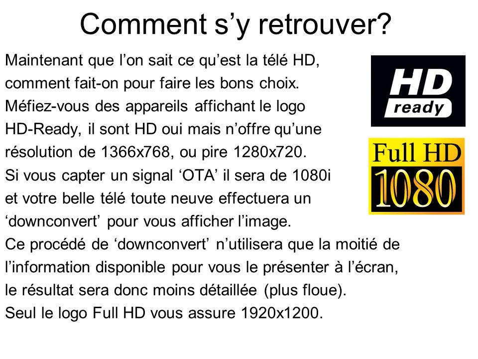 Comment s'y retrouver Maintenant que l'on sait ce qu'est la télé HD,