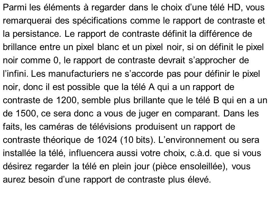 Parmi les éléments à regarder dans le choix d'une télé HD, vous