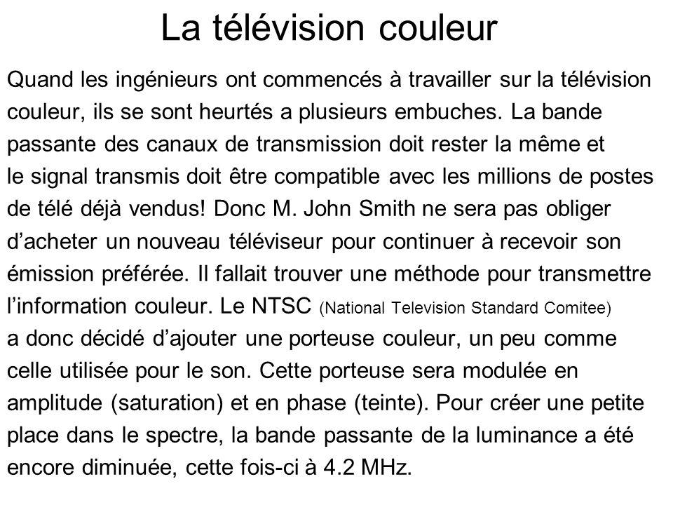 La télévision couleur Quand les ingénieurs ont commencés à travailler sur la télévision. couleur, ils se sont heurtés a plusieurs embuches. La bande.