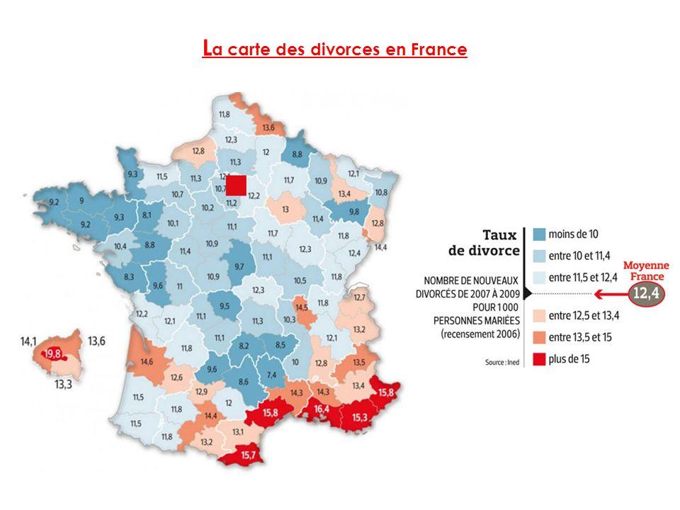 La carte des divorces en France