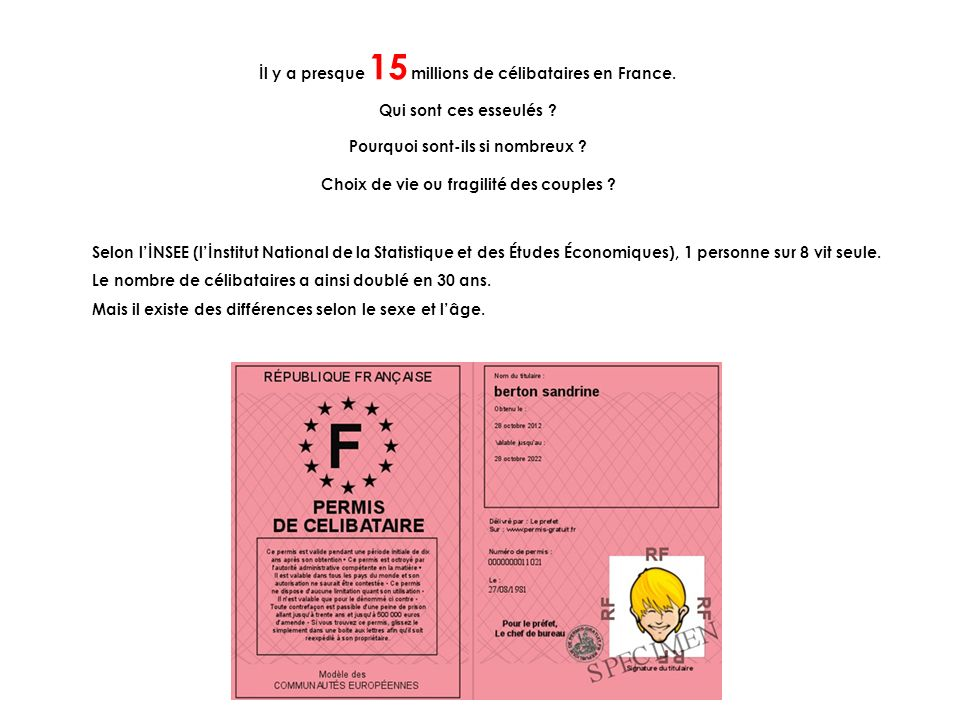 İl y a presque 15 millions de célibataires en France.