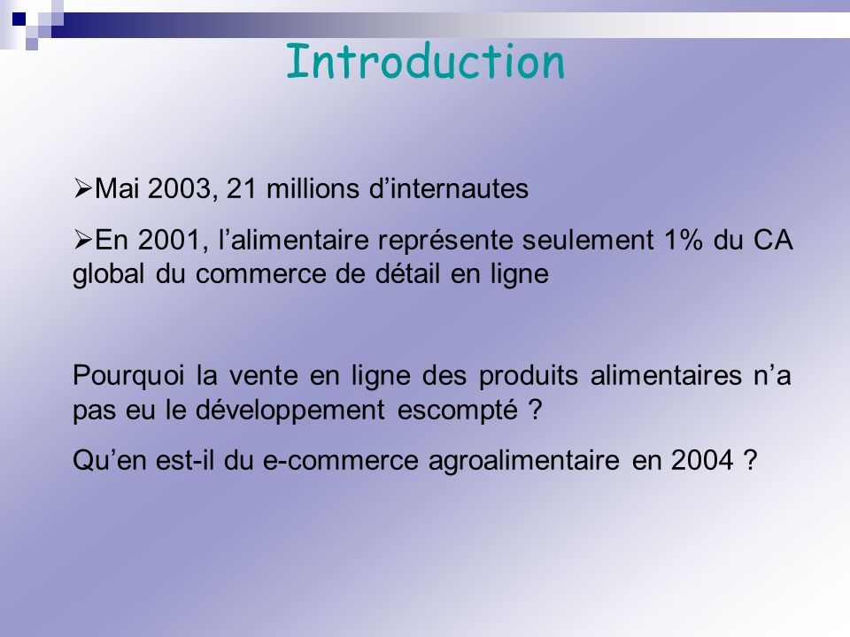 Introduction Mai 2003, 21 millions d'internautes