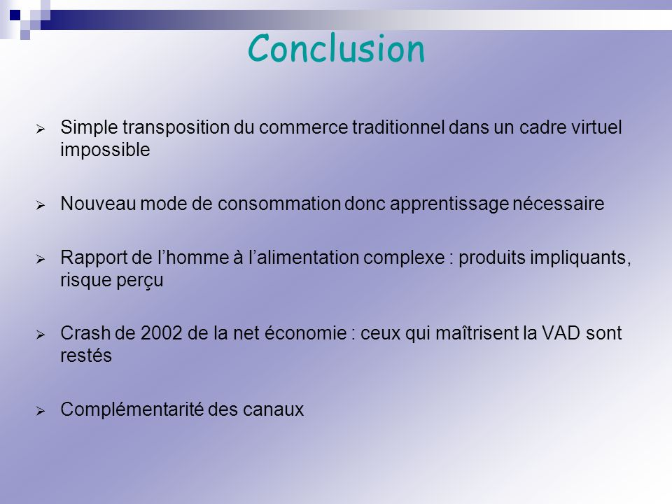 Conclusion Simple transposition du commerce traditionnel dans un cadre virtuel impossible.