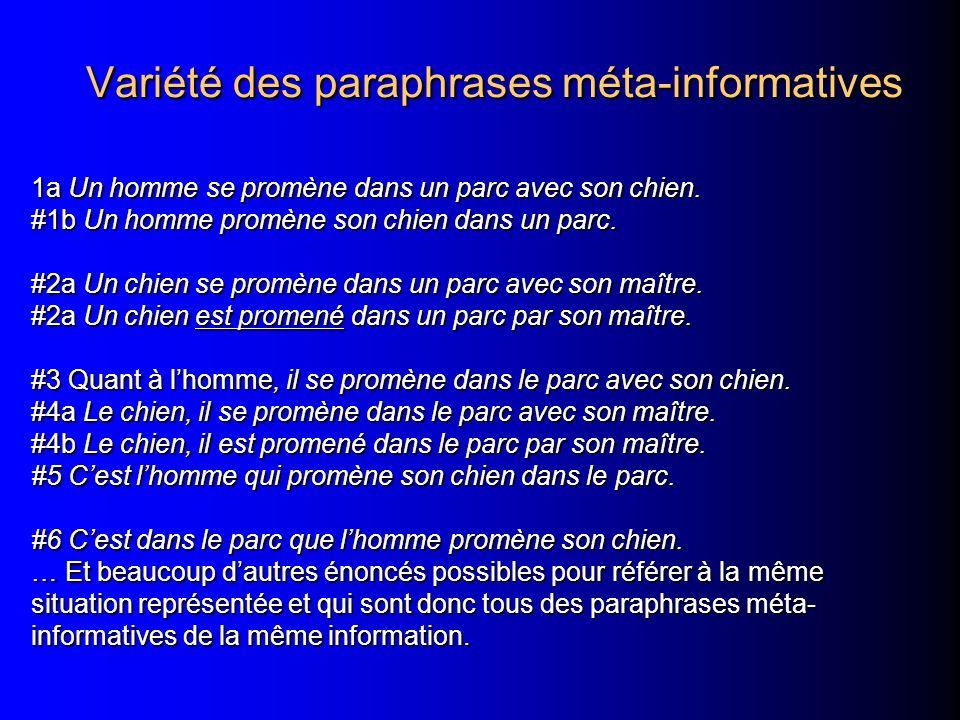 Variété des paraphrases méta-informatives