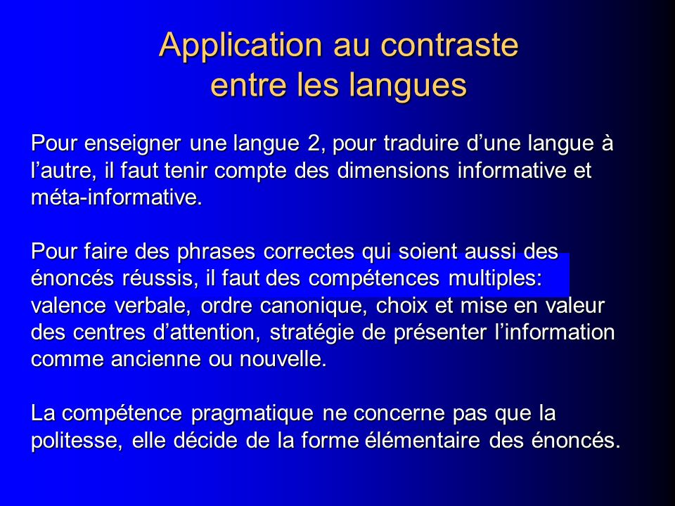 Application au contraste entre les langues