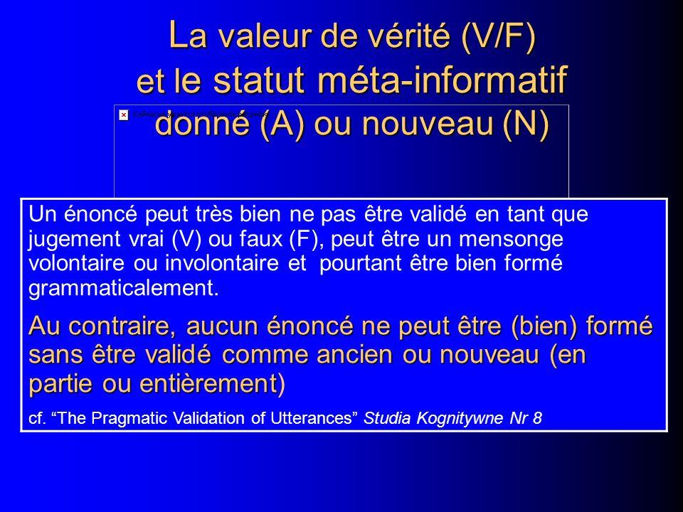 La valeur de vérité (V/F) et le statut méta-informatif donné (A) ou nouveau (N)