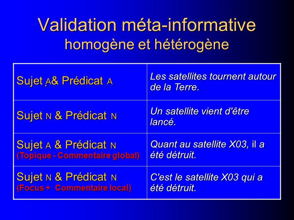 Validation méta-informative homogène et hétérogène