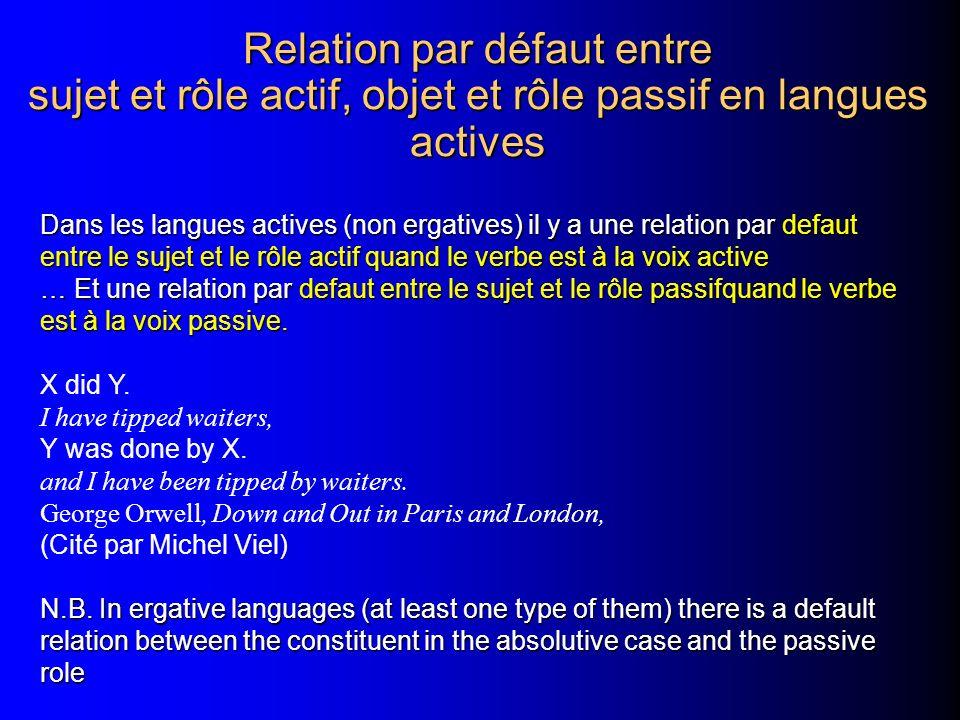 Relation par défaut entre sujet et rôle actif, objet et rôle passif en langues actives