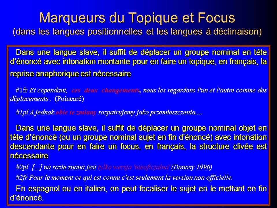 Marqueurs du Topique et Focus (dans les langues positionnelles et les langues à déclinaison)