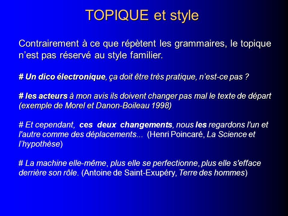 TOPIQUE et style Contrairement à ce que répètent les grammaires, le topique n'est pas réservé au style familier.