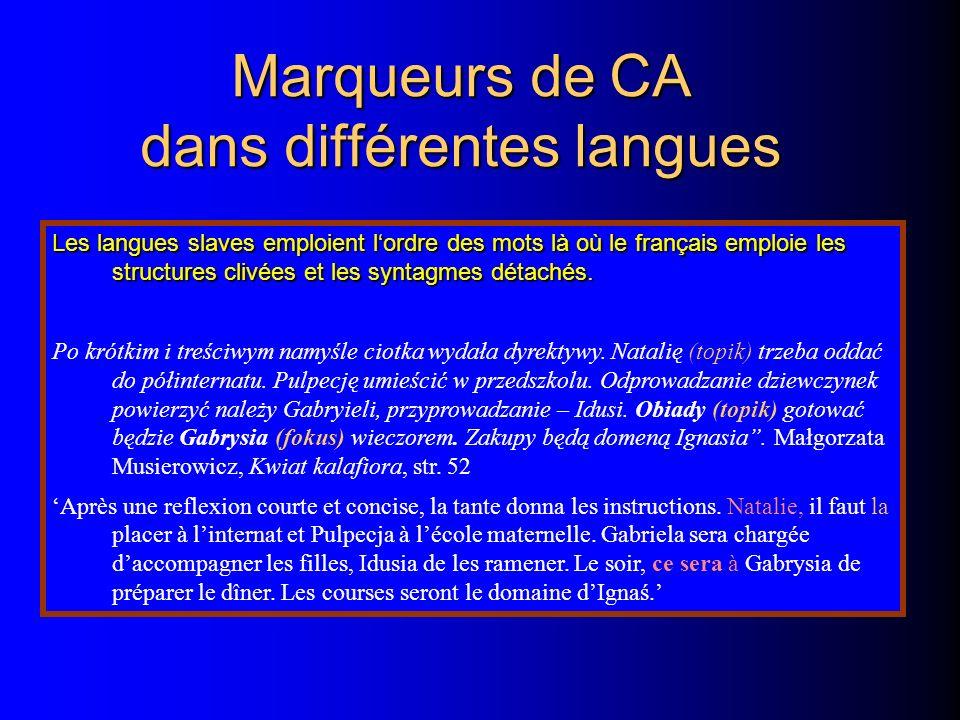 Marqueurs de CA dans différentes langues