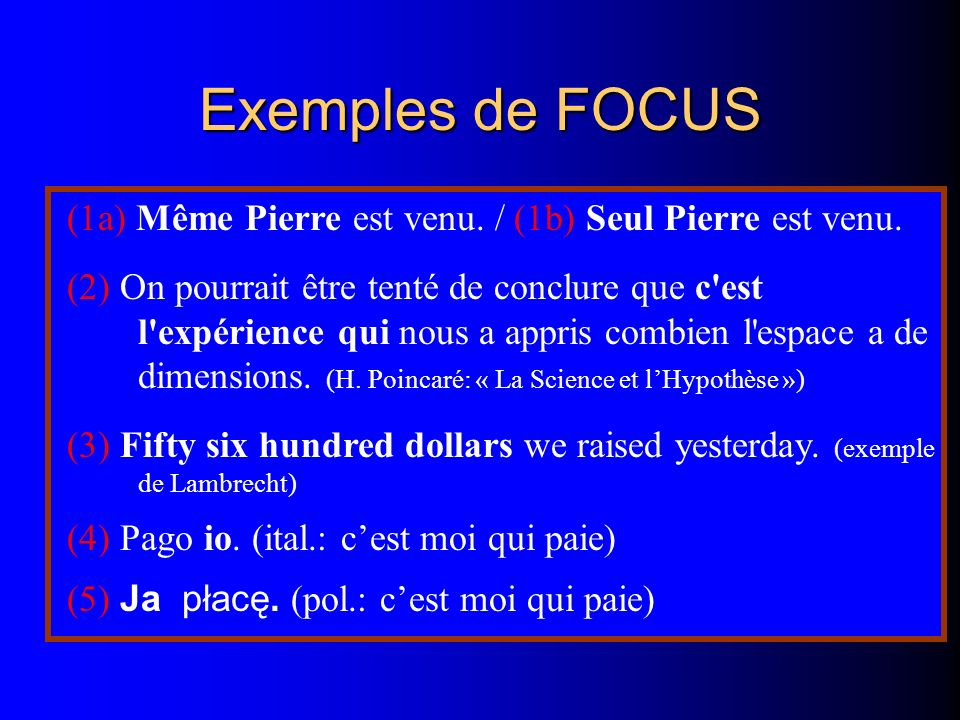 Exemples de FOCUS (1a) Même Pierre est venu. / (1b) Seul Pierre est venu.