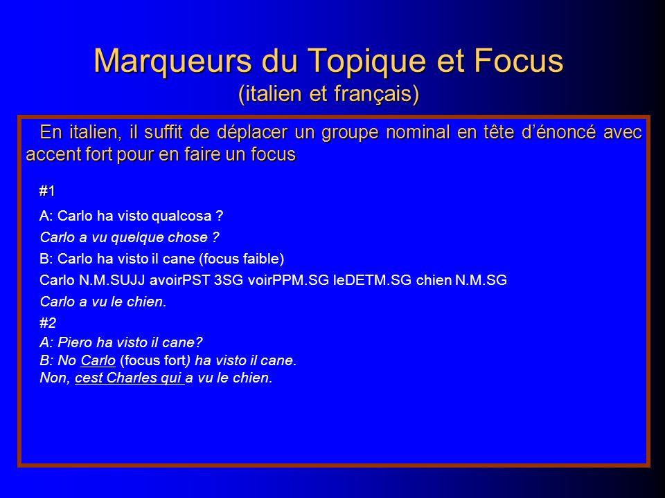 Marqueurs du Topique et Focus (italien et français)