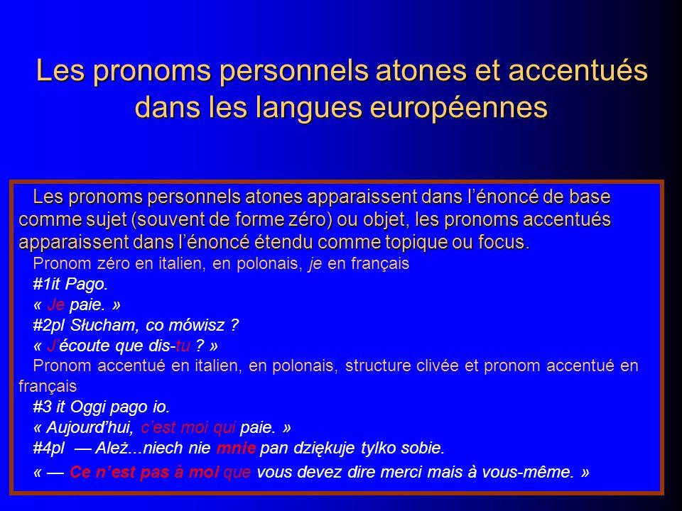 Les pronoms personnels atones et accentués dans les langues européennes