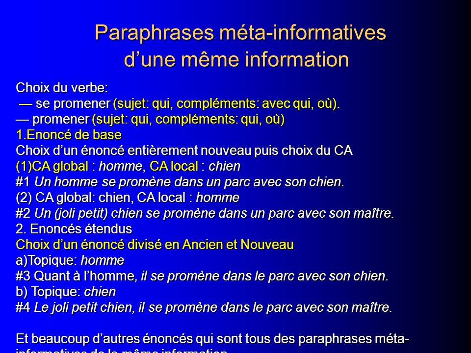 Paraphrases méta-informatives d'une même information