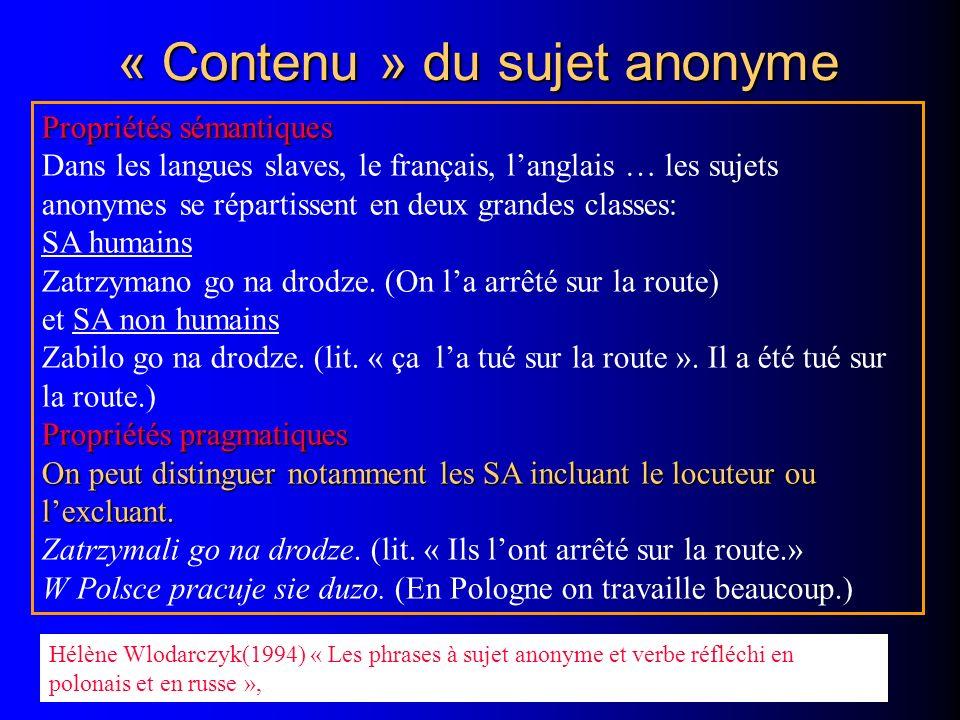 « Contenu » du sujet anonyme