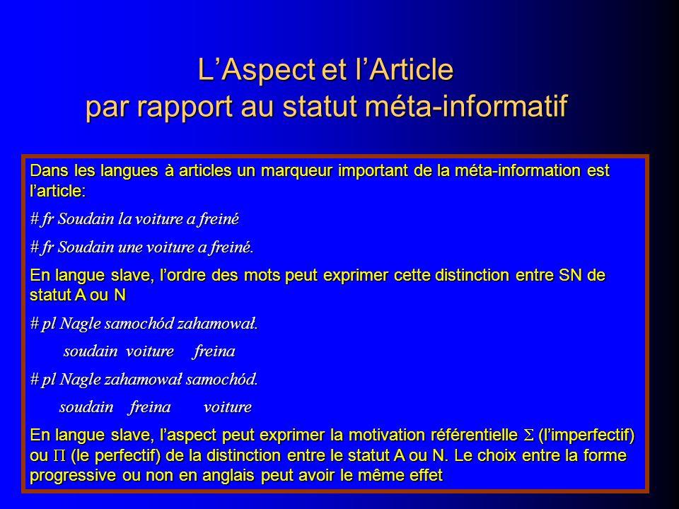 L'Aspect et l'Article par rapport au statut méta-informatif