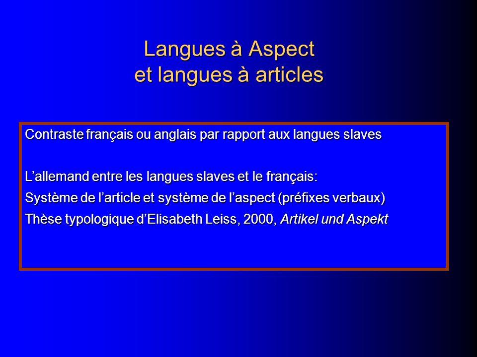 Langues à Aspect et langues à articles
