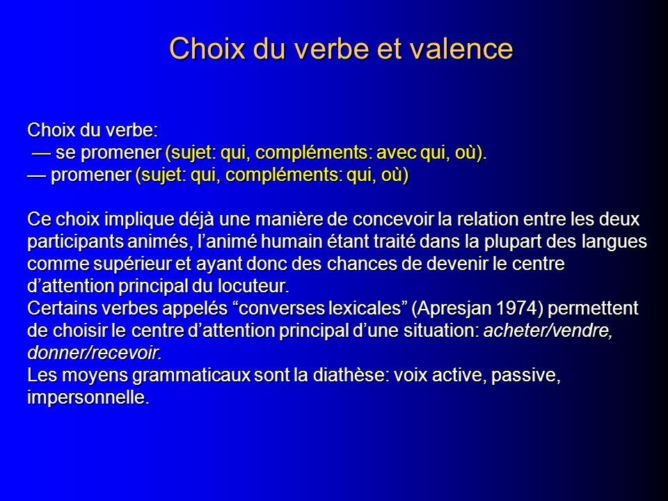 Choix du verbe et valence