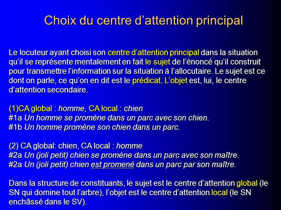 Choix du centre d'attention principal