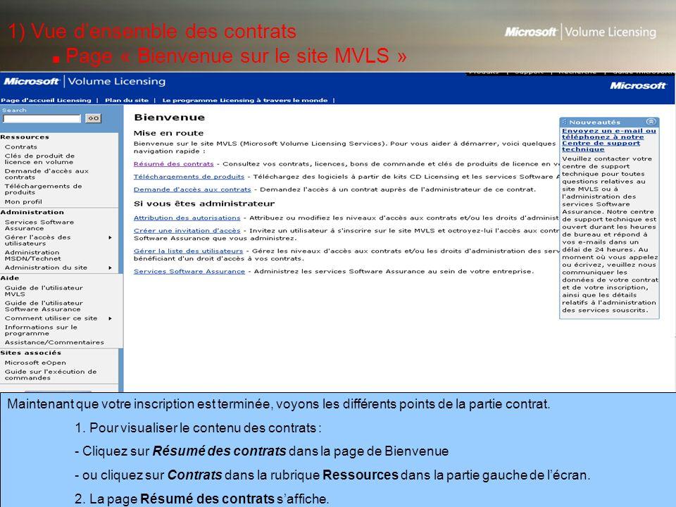 1) Vue d'ensemble des contrats ■ Page « Bienvenue sur le site MVLS »