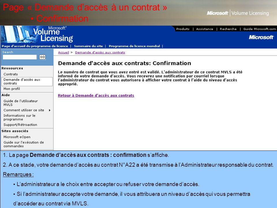 Page « Demande d'accès à un contrat » ▪ Confirmation