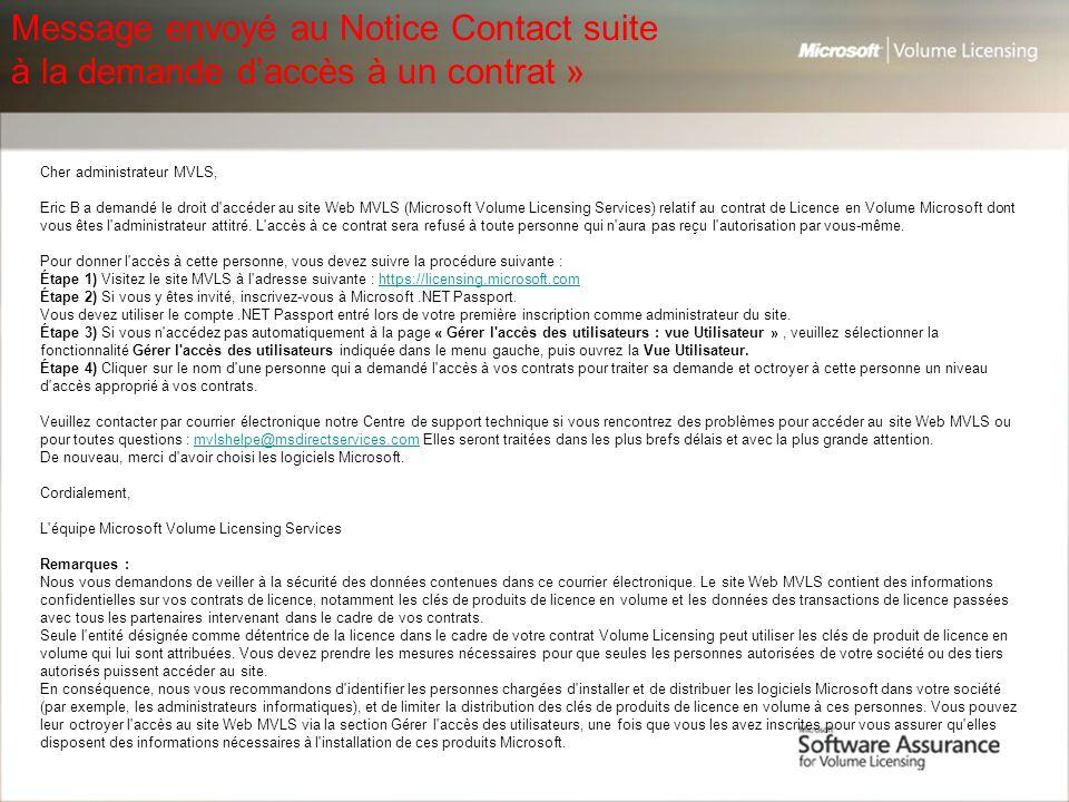 Message envoyé au Notice Contact suite