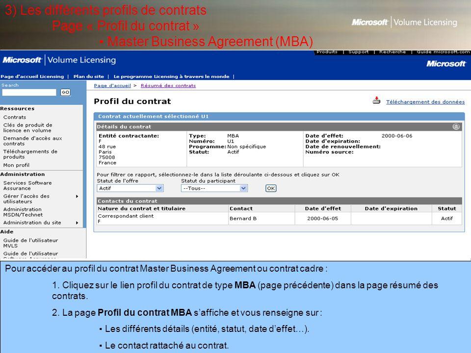 3) Les différents profils de contrats. Page « Profil du contrat »