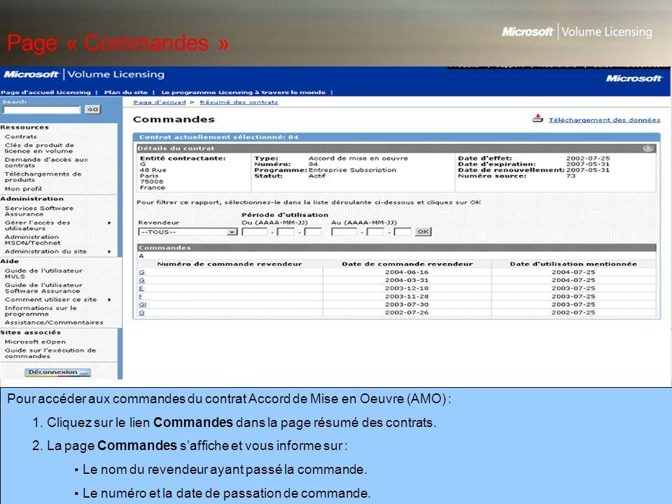Page « Commandes » Pour accéder aux commandes du contrat Accord de Mise en Oeuvre (AMO) :