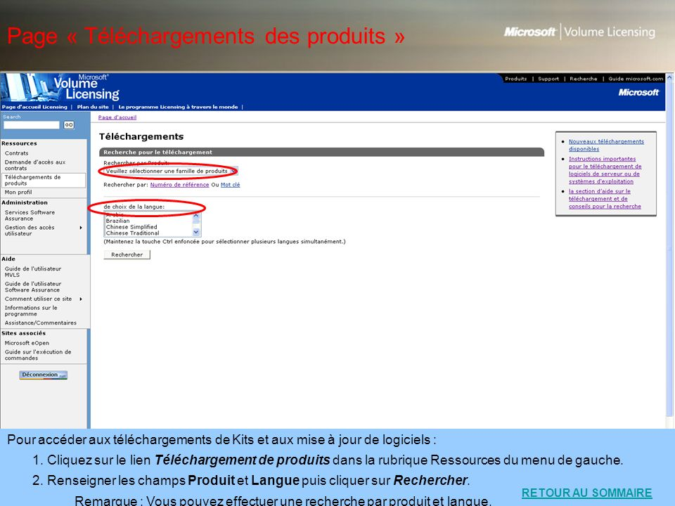 Page « Téléchargements des produits »