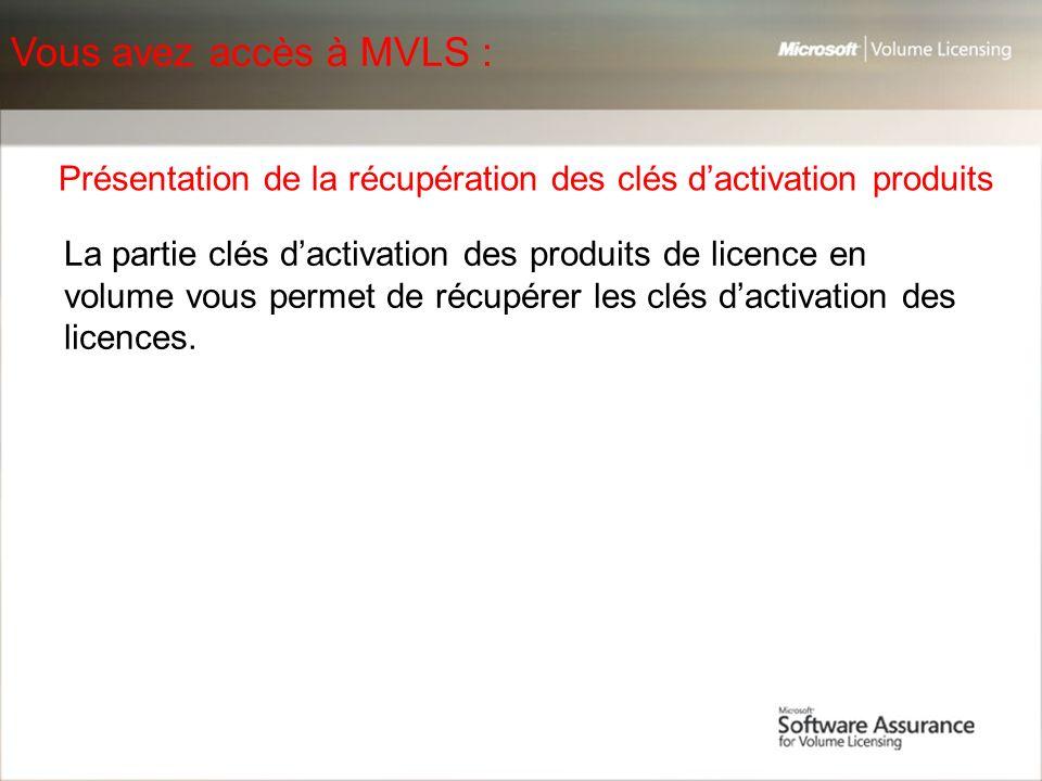 Vous avez accès à MVLS : Présentation de la récupération des clés d'activation produits.