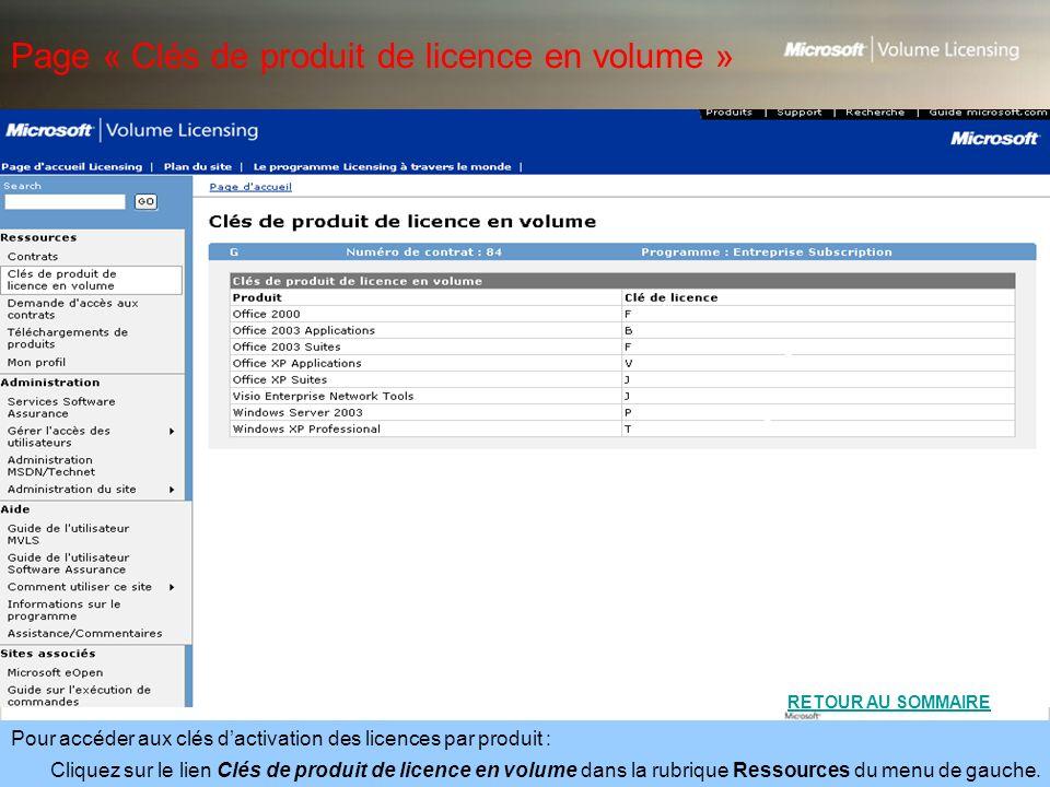 Page « Clés de produit de licence en volume »